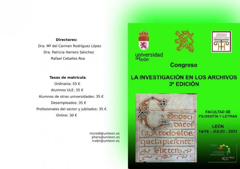 CONGRESO: LA INVESTIGACIÓN DE LOS ARCHIVOS 3º EDICIÓN
