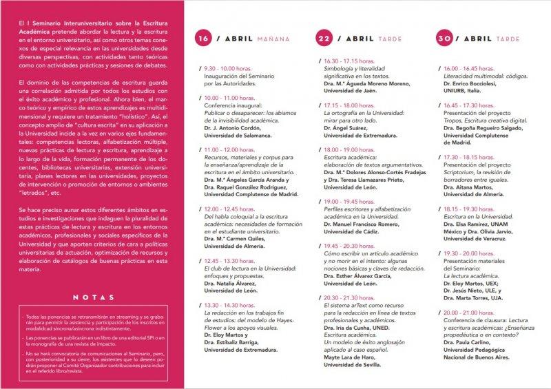 I Seminario INTERNACIONAL INTERUNIVERSITARIO DE LECTURA Y ESCRITURA EN LA UNIVERSIDAD